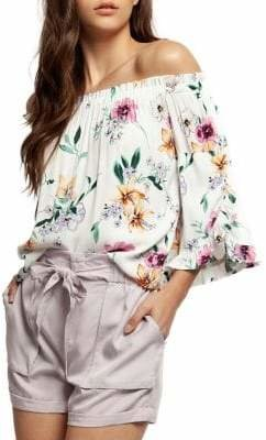 Dex Floral-Print Off-The-Shoulder Top