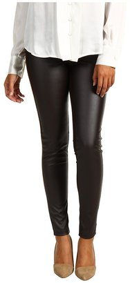 MICHAEL Michael Kors Structured Knit Faux Leather Front Pant (Chocolate) - Apparel