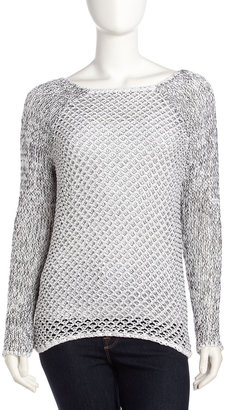 Helmut Lang Open-Weave Destroyed Pullover, White/Black