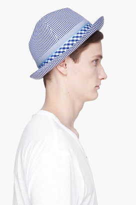 Comme des Garcons Blue Gingham Check Cotton Trilby Hat