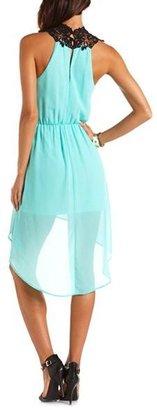 Charlotte Russe Delicate Lace-Top Hi-Low Dress