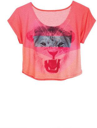 Delia's Big Strike Neon Lion Face Tee