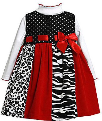 Bonnie Baby Infant Colorblocked Mixed-Media Jumper Dress & Mockneck Bodysuit