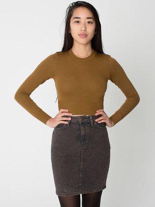 American Apparel Mineral Wash Stretch Bull Denim High-Waist Slim Skirt