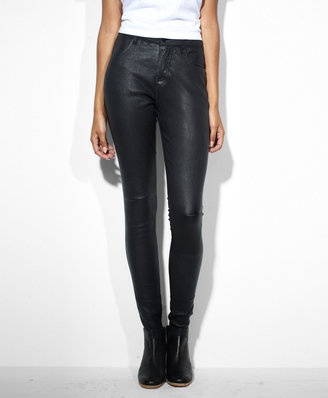 Levi's Leather-Paneled High Rise Skinny Jeans
