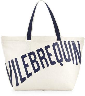 Vilebrequin Men's Logo Canvas Tote Bag, White