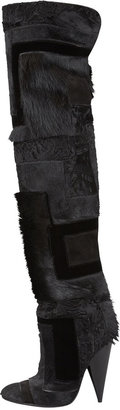 Tom Ford Geometric Patchwork Fur Over-the-Knee Boot