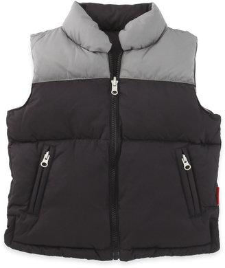 One Kid Reversible Down Vest, Black/Pebble
