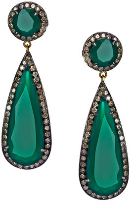 Hari Jewels Diamond Green Onyx Circle Teardrop Earrings