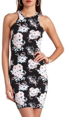 Charlotte Russe Racer Front Floral Bodycon Dress