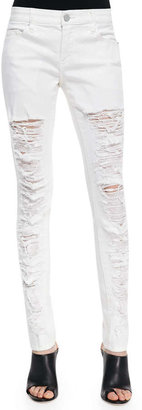 Blank Powder Slice Deconstructed Skinny Jeans, White