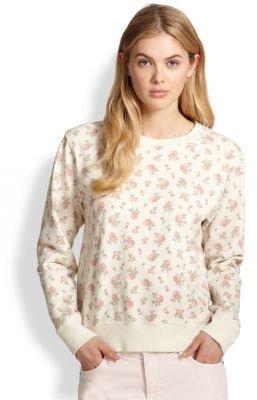 Current/Elliott Shrunken Jogger Rose-Print Sweatshirt