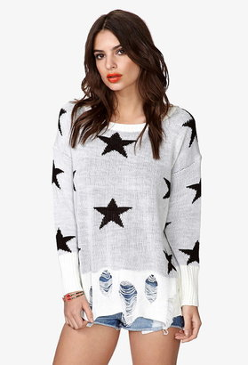 Forever 21 Shooting Star Destroyed Sweater