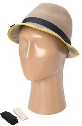 Hat Attack Bound Edge Wool Fedora w/ 3 Ribbon Bands (Taupe/Classics) - Hats
