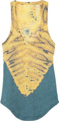 Raquel Allegra Shredded tie-dyed cotton-blend jersey top