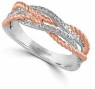 Effy 14K White Gold and Rose Gold Ring with 0.17 TCW Diamonds