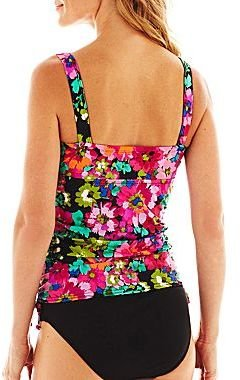 JCPenney Azul by Maxine of Hollywood Adjustable Shirred-Side Tankini Swim Top