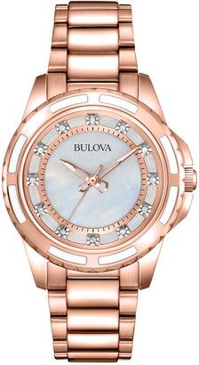 Bulova Women's Diamond Accent Rose Gold-Tone Stainless Steel Bracelet Watch 32mm 98P141 $375 thestylecure.com