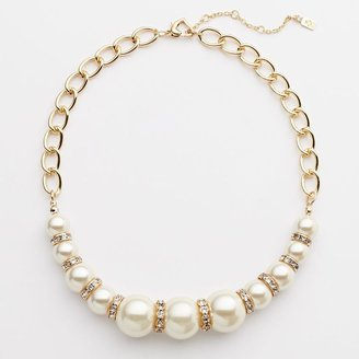JLO by Jennifer Lopez gold tone simulated crystal & simulated pearl graduated necklace