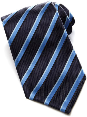 Brioni Shadow Striped Satin Tie, Navy