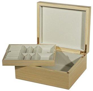 Siena Brown Burl Wood Jewelry Box with Tray