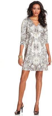 Style&Co. Petite Dress, Three-Quarter-Sleeve Sublimated-Print