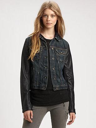 Rag and Bone Leather-Sleeve Jean Jacket