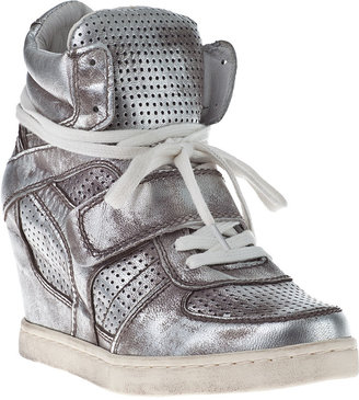 Ash Cool Wedge Sneakers Black Suede/Canvas