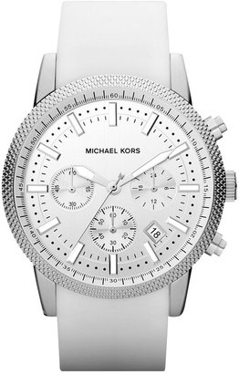 Michael Kors Watch, Men's Chronograph Scout White Silicone Strap 43mm MK8284