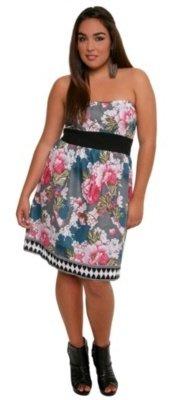 Floral Banded-Waist Tube Dress