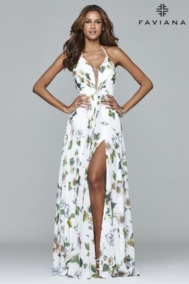 Faviana - 7946 Chiffon v-neck dress with full skirt and lace-up back $358 thestylecure.com