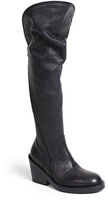 Ann Demeulemeester Asymmetrical-Zip Leather Over-The-Knee Boots