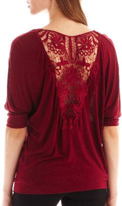 i jeans by Buffalo Elbow-Sleeve Lace-Back Tee