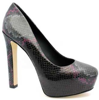 "Brian Atwood Savita"" Black-Pink Multi Snakeskin Leather Platform Pump"