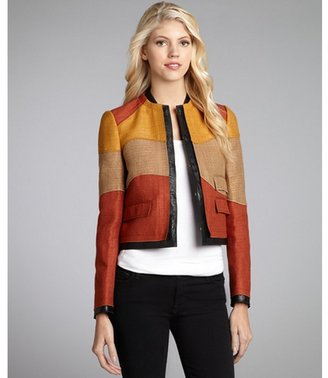 Proenza Schouler beige and orange colorblock leather lined cropped jacket