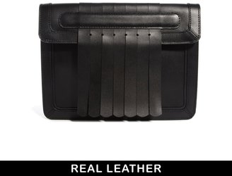 Asos Leather Clutch Bag With Fringing