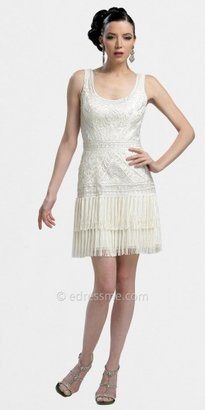 Sue Wong White Fringe Flapper Cocktail Dresses