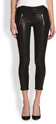 J Brand Julia Cropped Leather Skinny Jeans