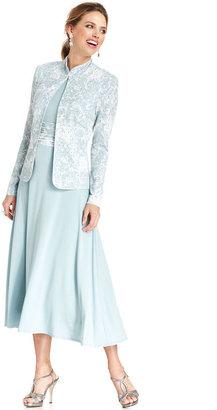 Jessica Howard Dress and Jacket, Sleeveless Printed Pleated