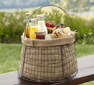 Pottery Barn Wire Basket with Burlap Liner
