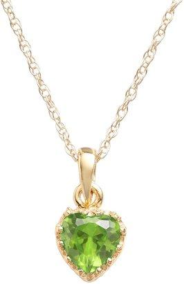 Tiara 14k Gold Over Silver Peridot Heart Crown Pendant