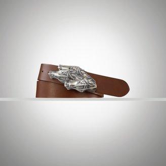 Ralph Lauren Leather Horse-Head-Buckle Belt