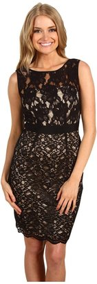 Jax Scallop Edge Sleeveless Lace Dress (Black/Nude) - Apparel