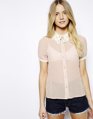 Mina Blouse With Lace Collar - Pink