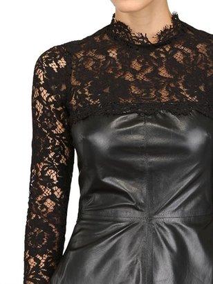 Valentino Cotton Lace And Nappa Leather Dress