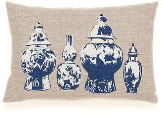 Gump's Blue Modern Ming Vases Pillow