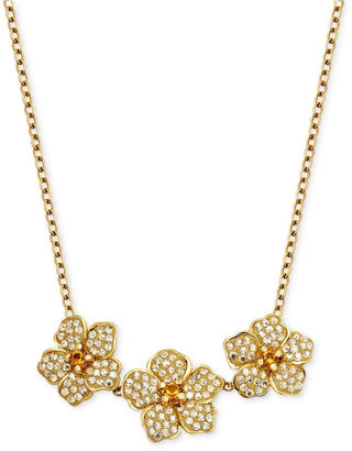Swarovski Kaleidoscope 18k Gold over Sterling Silver Necklace, Yellow Crystal 3 Flower Necklace (1-3/4 ct. t.w.)