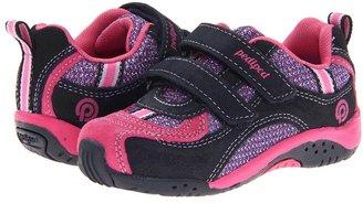 pediped Deirdre Flex (Toddler/Little Kid) (Navy/Fuchsia Suede/Mesh) - Footwear