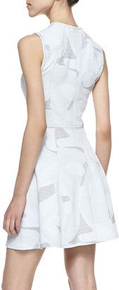 Yigal Azrouel Cut25 by Perforated Jacquard Sleeveless Flare Dress