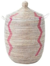 Senegalese Storage Basket Pink, Small